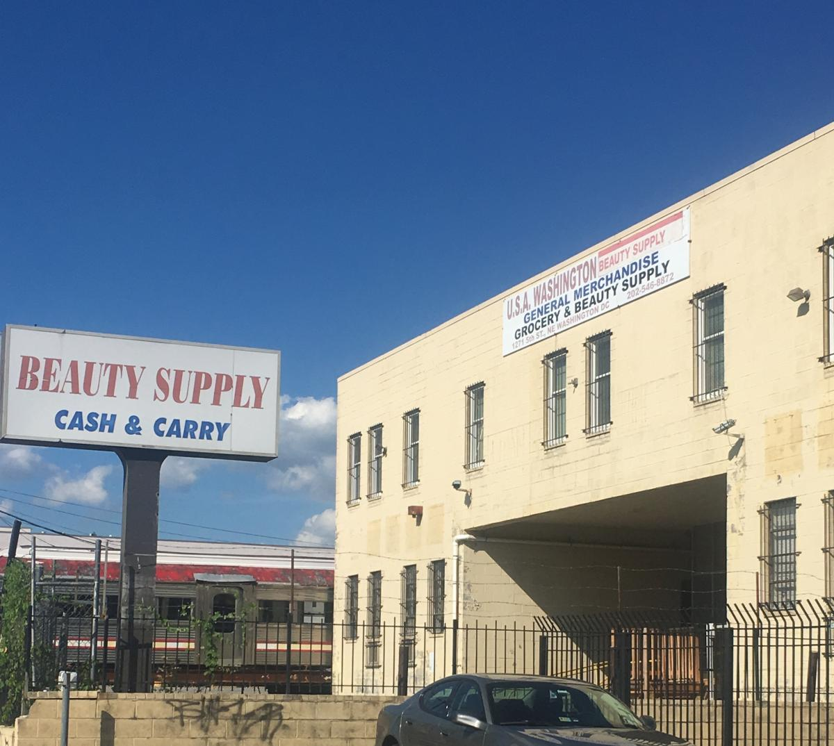 The outside of the beauty supply warehouse