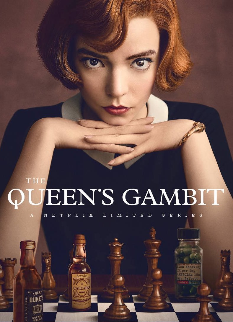 Promotional poster for the Queen's Gambit on Netflix.