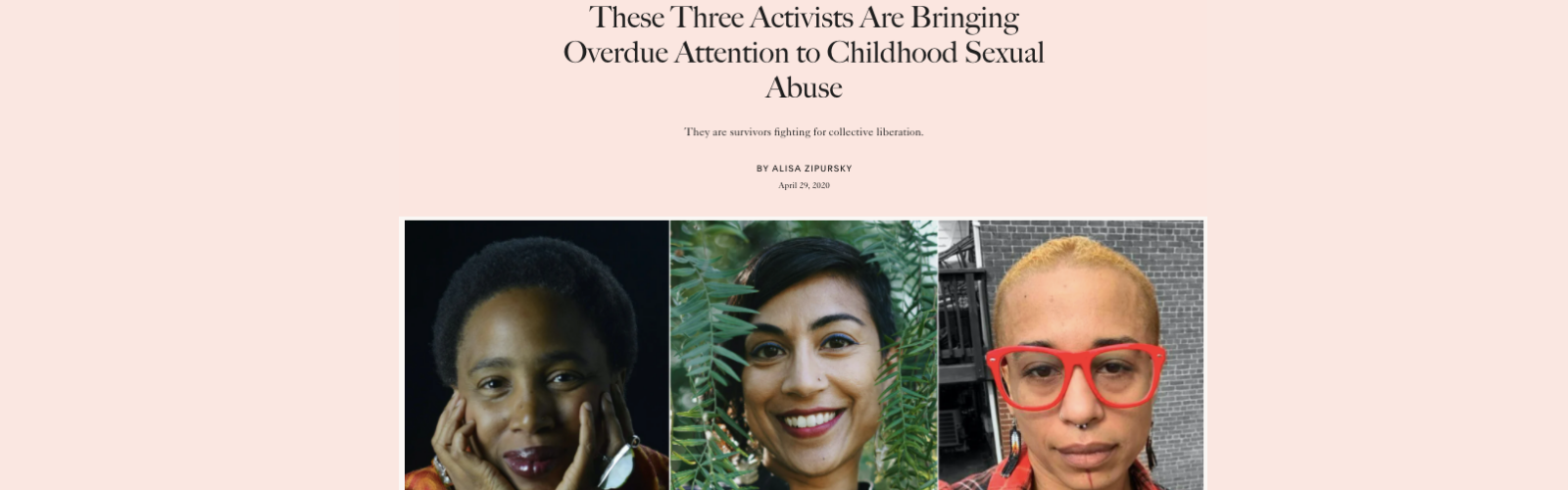 "Screenshot of Allure.com article titled, ""These Three Activists Are Bringing Overdue Attention to Childhood Sexual Abuse"""