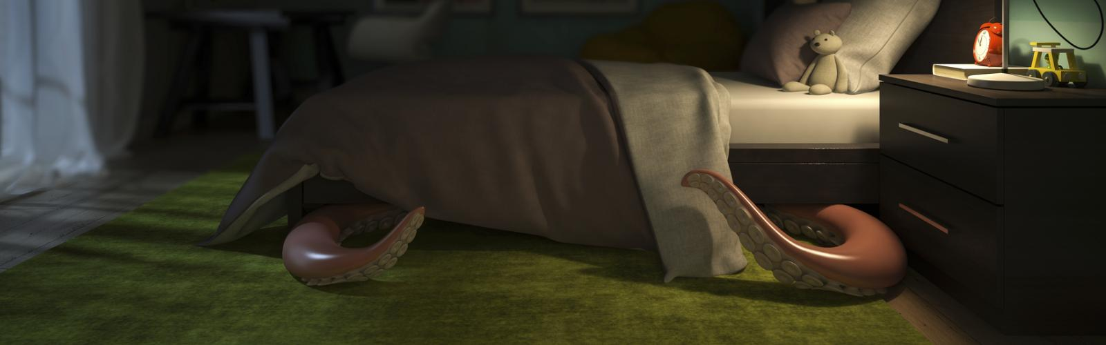 Octopus hiding under the bed