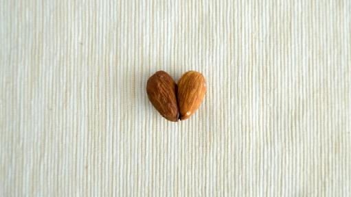 two almonds making a heart