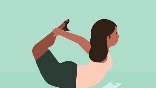 "A cartoon of a woman doing a yoga ""boat"" pose with a teal background on the image."