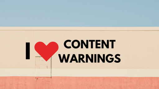 "Building with a sign that says ""I Heart content warnings."""