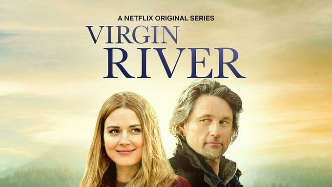 """Promotional poster for Netflix's """"Virgin River"""" with the costars featured."""